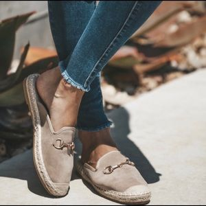 Shoes - 🆕! Horsebit Taupe Espadrille Slides